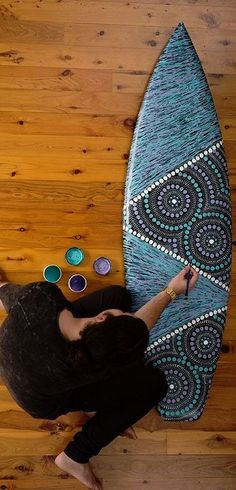 This artist uses the culturally rich patterns from his indigenous background to beautify surfboards and pay homage to his heritage. // surf art