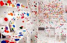 The Obliteration Room - a series of rooms were painted completely in white where every room surface, piece of furniture and decoration was treated as a giant white canvas. Over the course of two weeks, kids were given thousands of colour dot stickers and were encouraged to make their creative contribution towards transforming the white space into one exploding with vibrant colours.