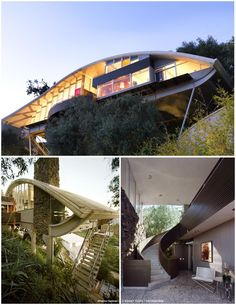"THE GARCIA HOUSE by John Lautner , LA: When built in 1962, the New York Times called it a ""Quonset hut made of glass."" The 2,300-square-foot home juts out over a cliff on two V-shaped supports, and has 30 feet of windows to look out over the canyon below. It has a curved roofline, walls of glass and lava rock, and gray terrazzo floors.. A spiral staircase divides the space, with a private bedroom & office wing on one side, and the kitchen, dining area and living area on the other."