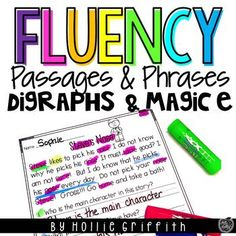 Beginning readers need practice segmenting words, reading sight words, and developing reading fluency. This bundle includes 12 digraphs, magic e, and primer/first grade Dolch fluency passages with comprehension questions, 12 sheets of digraphs, magic, and primer/first grade phrases, word lists, and data sheets. Enjoy! #HollieGriffithTeaching #KidsActivities