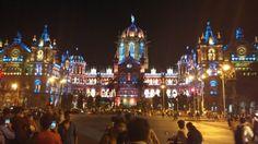 Mumbai CST lit up for Diwali. 22/10/2014 | www.indipin.com #Indipin