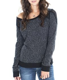 Take a look at this Black Lace Panel Boatneck Sweater by Silver Jeans Co. & Cino on @zulily today!