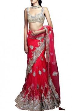 Red Net Lehenga Sari Is Now At www.ladyselection.com