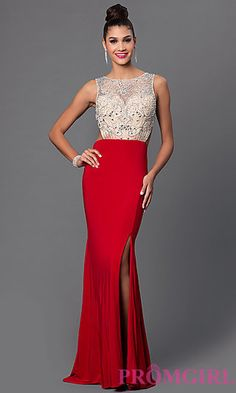Sleeveless Mock Two Piece Floor Length Dress at PromGirl.com