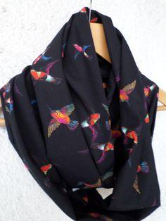 Birds print infinity scarf Flying birds scarf by allbyInna on Etsy