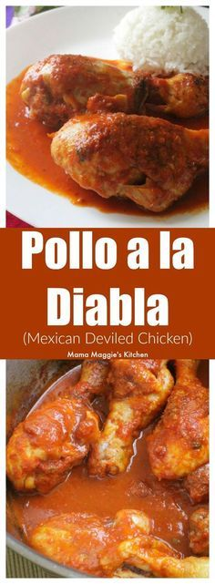 Mexican Deviled Chicken (or Pollo a la Diabla) is a Mexican food favorite. Delicious, flavorful, and not too spicy. Serve with a side of rice, salad, and enjoy! By Mama Maggie's Kitchen