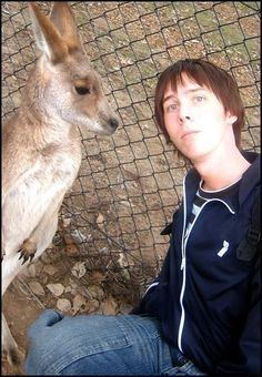 """I think this is still the best photo ever. That kangaroo wants my blood!"" - Amazing Phil <3"