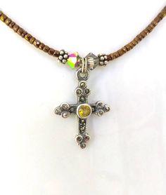Mayas Gems Vintage Cross Pattern Pendant Antique Finish Sterling Silver 22mm Long Imported