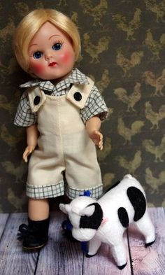"Ginny's Boy Pal in ~SuMMeRFuN~. A special 2 PC hand designed romper with shirt for 7.5-8"" dolls. Made special for Ginny Boys, Muffie Boys, or Madame Alexander 8"" Boys too! At my ebay store now with a buy it now price available."