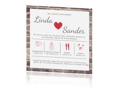 Hippe trouwkaart met stenen achtergrond tijdlijn en rode icoontjes
