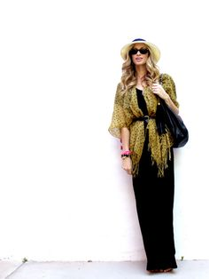 Maxi dress + belted scarf + panama hat  for a great boho look