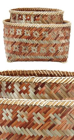 A repeating tonal pattern adds intrigue to our Takoma Nesting Baskets, which are woven from natural, multitonal reed. They'll bring an element of rusticity to your décor while simultaneously stowing od...  Find the Takoma Nesting Baskets - Set of 2, as seen in the Bohemian Outdoor Living in the Tropics  Collection at http://dotandbo.com/collections/bohemian-outdoor-living-in-the-tropics?utm_source=pinterest&utm_medium=organic&db_sku=119065