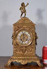 Antiguo Francés Imperio Bronce Reloj Con Cherub statue/figurine