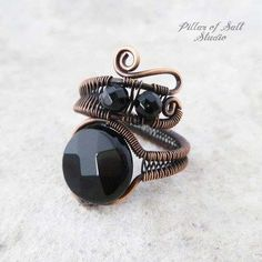 Items similar to Black Onyx Copper Wire wrapped ring - handmade copper jewelry - boho bohemian gemstone jewelry on Etsy Copper Rings, Copper Jewelry, Wire Jewelry, Gemstone Jewelry, Copper Wire, Jewelry Rings, Natural Jewelry, Jewelry Shop, Diamond Jewelry