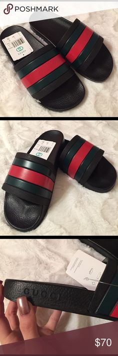 Gucci stripped black slides Green and red stripped beach sandals / slides. These are a men's size 7 but they run big so more like a men's size 8 (women's size 9 1/2). Purchased from a third party distributed so I don't think they're authentic but they look legit!  too big for me or I'd keep them. $55 on ️️ Gucci Shoes Sandals & Flip-Flops