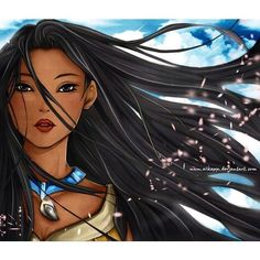 """Disney gave me unrealistic hair expectations . Pocahontas didn't even own a brush! But, the fact that people used to tell me I had """"Indian hair"""" made me convinced I was Pocahontas reincarnated. Pocahontas Disney, Disney Pixar, Disney Fan Art, Walt Disney, Princess Pocahontas, Animation Disney, Disney Princess Art, Disney Girls, Disney And Dreamworks"""