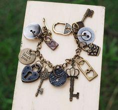 Assemblage Key Lock Charms Button Bracelet Handmade Unique Live Laugh Love #jeanninehandmade #Wrap