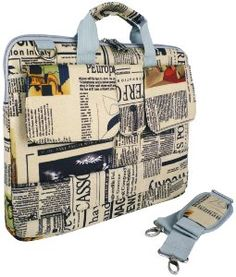 14 inch Newspaper Pattern Laptop Carry Case / Shoulder Messenger Bag / Briefcase for Macbook, Acer, Dell, HP, Sony Notebook @Amazon.com ($)19.99