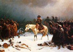 """* Napoleão Bonaparte *  """"Retirada de Moscou"""". (by Adolph Northern)."""