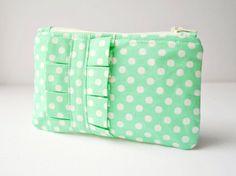 Coin purse wallet Polka dot spot in mint green by CuriousMissClay, £12.00
