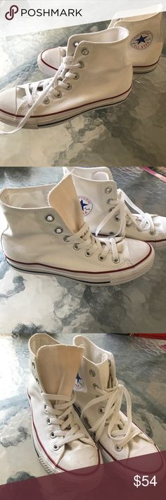 White high top converse White converse. Any imperfection included in pictures. Still in great condition. Converse Shoes Sneakers