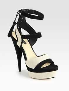 Rachel Zoe -   Blake Two-Tone Suede and Linen Tassel Platform Sandals