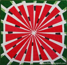 Watermelon quilts are fun...so here is another one! After I made the original Watermelon Wedge Quilt , I had no plans to EVER make the ...