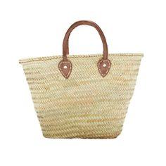 BARCELONA. French Market Basket, with Short Leather Handle - Indigo&Lavender - $29.99 - domino.com