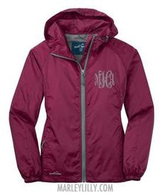 Monogrammed Black Cherry Eddie Bauer Windbreaker Jacket