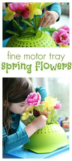 Faux flowers + colander! Perfect quiet activities for young kids.