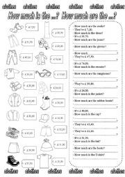 English worksheet: How much is the ...? How much are the ...? (2)