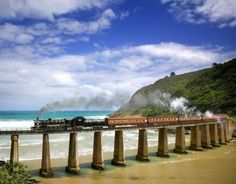 Outeniqua Choo-Tjoe Steam Train Crossing Dolphin Point, Near Wilderness, South Africa Train Route, By Train, Train Trip, The Places Youll Go, Places To See, Beautiful World, Beautiful Places, Travel Around The World, Around The Worlds