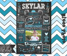 Birthday Chalkboard Poster Sign for Birthday Parties - Customized Birthday Chalkboard with Photo- Baby's Birthday Chalkboard - First Popular Birthdays, First Birthdays, Baby 1st Birthday, Birthday Parties, 1st Birthday Chalkboard, Chalkboard Poster, Baby Photos, Party Themes, Photo Baby