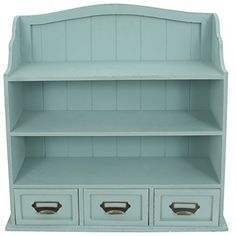 Distressed Wood Cabinet with Shelves and Drawers Blue - http://www.homeandofficeproducts.com/distressed-wood-cabinet-with-shelves-and-drawers-blue/
