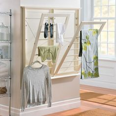Add drying convenience in small spaces with the Wall-Mount Drying Racks. Each rack tilts out at 3 different angles, so you can choose the perfect height for hanging your clothes or accessories.