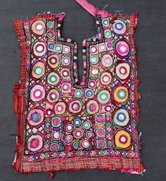 Gypsy Banjara yoke embroidered fabric panel tribal handmade