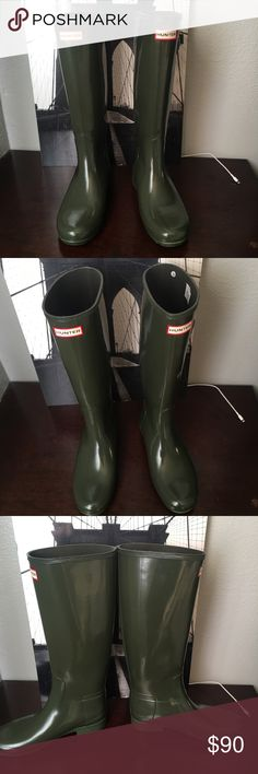 "'Original Refined' High Gloss Rain Boot Choose a color Dark Olive 👌🏼.                                                      1"" heel  16"" shaft; 15"" calf circumference Hunter Boots Shoes Winter & Rain Boots"