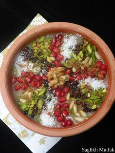 Aşure turkish - sometimes called Noah's dessert as it's made with the remaining ingredients from the ark and eaten to celebrate the 10th day of the Moslem month of Muharrem, the anniversary of the martyrdom of Imam Hüseyin, grandson of Mohammed.