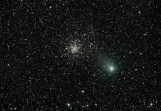 Brian McGaffney sent in this great image of Comet C/2009 P1 Garradd's flyby of M71. It was taken from his own Nutwood Observatory in Ontario, Canada on August 26th at 11pm (EDT). Brian used a 14 inch astrograph (a telescope specifically for use in astrophotography) and an Apogee U16M CCD camera.