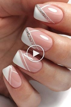 The Best Wedding Nails 2020 Trends ❤ wedding nails trends modern elegant french manicure with silver glitter emotionsssss Summer Acrylic Nails, Spring Nails, Summer Nails, Pedicure Nail Art, Toe Nail Art, Halloween Nail Designs, Halloween Nails, Stylish Nails, Trendy Nails