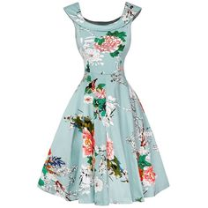 Cap Sleeve Floral Fit and Flare Dress (42 BAM) ❤ liked on Polyvore featuring dresses, cap sleeve floral dress, botanical dress, floral day dress, flower design dresses and fit and flare dress