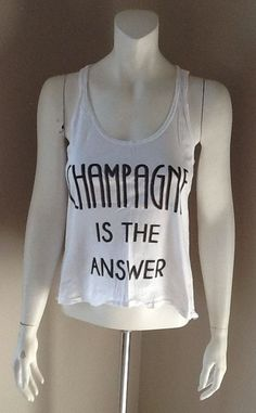 JUNK FOOD CLOTHING CHAMPAGNE IS THE ANSWER GRAPHIC TANK TOP SIZE SMALL #JunkFood #GraphicTee