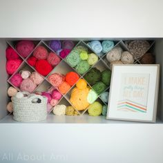 Transform a plain shelf into beautiful yarn storage with this easy DIY tutorial from All About Ami! No power tools required!