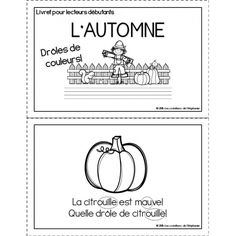 Livret pour lecteurs débutants : L'automne French Teacher, Teaching French, High School French, French For Beginners, French Education, Core French, French Classroom, French Resources, French Immersion