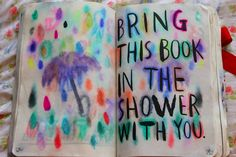 Wreck this journal ideas, I love how the colors look. reminds me of thats the spirit Wreck This Journal, Daily Journal, Journal Pages, Bullet Journal, Art Journal Inspiration, Journal Ideas, Bookbinding, Cool Diy, Book Activities