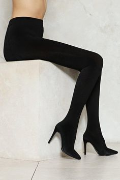 Pull it up. The Pull the Plug Heel features a high-waisted legging design, almond toe, stiletto heel, and stretch fit.