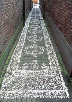 "Rear Entrances paint a ""carpet"" as the isle runner such a great idea so beautiful!"