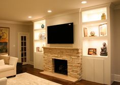 fireplace | built in bookshelf