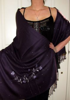 Beautiful Dark Purple Shawl Flowery Vine Extravaganza - $64.99 an original hand crafted shawl with silvery beauty and lilac flowers a must have evening shawl wrap for all seasons hence a beautiful gift idea.