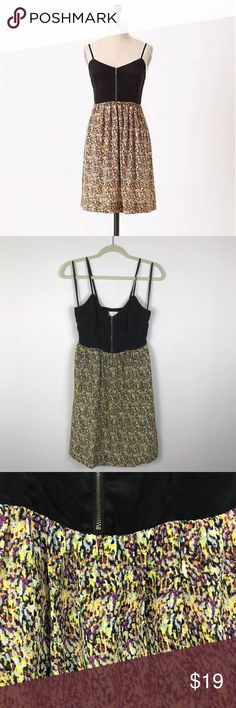 "{Moulinette Soeurs Anthro} In the City Shift Dress Excellent Pre-loved Condition! Moulinette Soeurs Anthropologie Black Yellow In the City Shift Dress   Size: Women's 4 Measured laying down flat: 37"" long, 15"" across bust, 12"" across waist Material: 100% Silk / lining 100% Polyester Description: Zip front, spaghetti straps, lined, sweetheart neck, elastic waist  Comes from a Smoke Free Home 1659 Anthropologie Dresses"